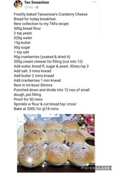 Taiwanese Cranberry Cheese Bread Thermomix Bread, Cranberry Cheese, Bun Recipe, Bread Bun, Cheese Bread, Freshly Baked, Scones, Buns, Brownies
