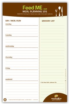 great idea for meal planning and organization