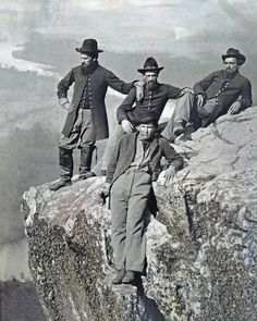 4 Union Soldiers Atop Lookout Mountain Tennessee, 1863
