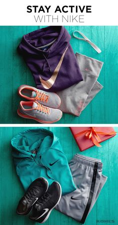 For every winter workout, there's perfect Nike gear to match (and it makes for a great Christmas gift!). Featured product includes: (for her) Nike sportswear funnel neck hoodie in purple dynasty, Flex Run 2016 running shoes in gray mango, 6-pack rainbow headband set; (for him) Flex Run 2016 running shoes, mesh-panel shorts and Therma training hoodie. Make your move with Kohl's.
