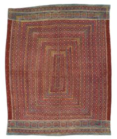 Lassi Ralli quilt, Saami People, probably made in Sindh, Pakistan, circa 1960-1980, purchase made possible through James Foundation Acquisition Fund, 79 x 53 in. An interesting aspect of this quilt is that its base fabric is an ajrak—a traditional red, blue, and white block-printed fabric made in up to sixteen separate steps. Ajrak fabrics are more often seen on the back of a ralli.