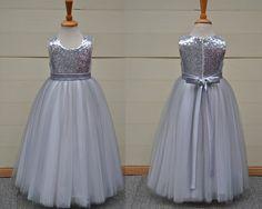 Flower girl dress sequins girl dress grey flower by YouthStudio