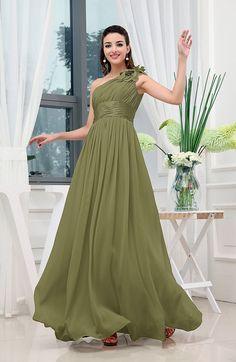 Olive Green Cinderella A-line Asymmetric Neckline Sleeveless Zipper Chiffon Bridesmaid Dresses