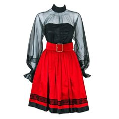 1990's Chanel Black & Red Satin Strapless Party Dress Ensemble ($1,600) ❤ liked on Polyvore featuring dresses, strapless cocktail dresses, strapless satin dress, strapless dresses, red strapless cocktail dress and satin cocktail dress