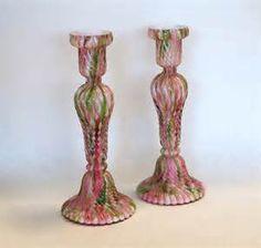 Fenton Marbled Glass Candlesticks