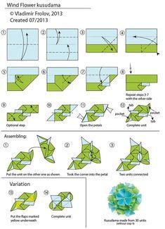 Wind flower kusudama - diagram - Vladimir Frolov