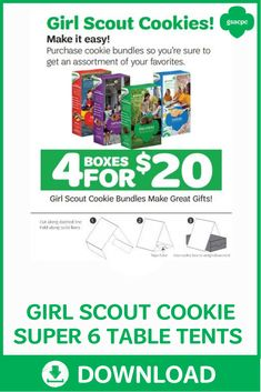 Stand out at your booth with this Girl Scout Cookie 4 for $20 (Super Six) table tent that you can print and download! Girl Scout Cookie Image, Girl Scout Cookie Sales, Brownie Girl Scouts, Cadette Girl Scout Badges, Girl Scout Cookies Flavors, Gs Cookies, Sales Girl, Cookie Table, Table Tents