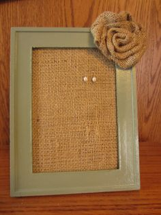 Burlap Framed Earring Holder with Rosette. $7.00, via Etsy.