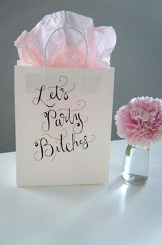 bachelorette party welcome gift bags! @K D Eustaquio Gerlach filled with accessories for the weekend in Nash!
