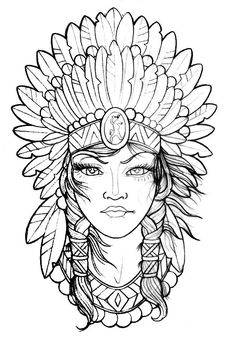 Content: Indian headdress drawing to color, paint and printing; Sketch Tattoo Design, Tattoo Sketches, Tattoo Drawings, Drawing Sketches, Art Drawings, Tattoo Ink, Printable Adult Coloring Pages, Cute Coloring Pages, Coloring Pages To Print