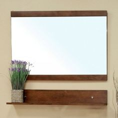Crenshaw Bathroom Mirror In Medium Walnut By Bellaterra Home 222 00 Size 33 5