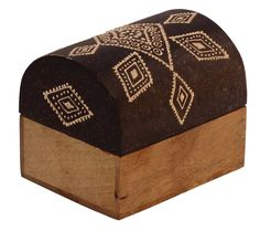 """Bulk Wholesale Handmade 4"""" Trunk-Shaped Mango-Wood Jewelry Box / Trinket Box in Black & Natural-Wood Color Decorated with Traditional-Look Motifs in Cone-Painting Art – Ethnic-Look Boxes from India"""