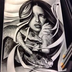 """Finished up this """"mamba mama"""" really fun and difficult at the same time. Turned her arm/elbow into the belly of the #snake so it looks as is if the snakes wrapping around her neck #tattoo #spooky #mambamama #mambas #blackmamba #blackandgrey #bnginksociety #pencil #work #graphite #WorldofArtists #worldofpencils #artfido #arts_mag #arts_help #art_empire #artoftheday #draw #drawing #drawingoftheday #create #custom #realism #realistic #detail #animal"""