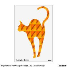 Brightly Yellow Orange Colored Cat Wall Sticker