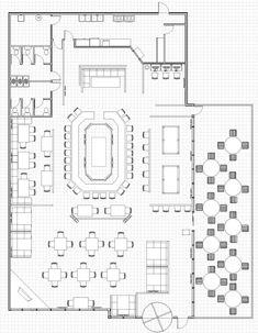 Nice Restaurant Bar Floor Plans With Restaurant Floor Plan By Steamstrike Restaurant Layout, Open Kitchen Restaurant, Restaurant Floor Plan, Restaurant Concept, Restaurant Interior Design, Restaurant Bar, Cafe Floor Plan, Floor Plan Layout, Floor Plans