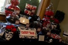 red and black candy bar Candy Bar Wedding, Wedding Pins, Red Wedding, Buffet Wedding, Wedding Ideas, Red Candy Buffet, Candy Table, White Candy Bars, Candy S