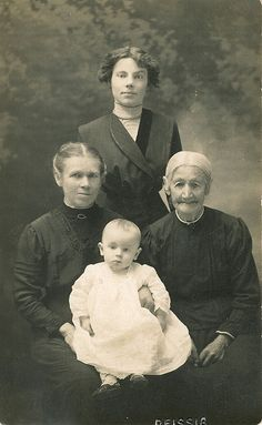 Passing Down Love Through the Generations: Beautiful Vintage Photograph Of 4 Generations