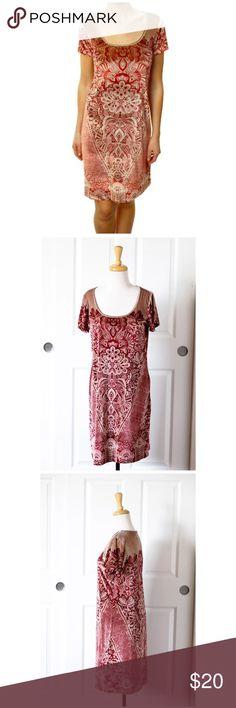 HOLLY HOCK LUCKY BRAND Beige Burgandy Velour Dress Gorgeous HOLLY HOCK LUCKY BRAND Beige Burgandy Red Floral Velour Short Sleeve Dress M Lucky Brand Dresses Midi