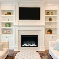 Modern Flames Spectrum 36 inch Built-In, Recessed Flush-Mount Electric Fireplace - The Noble Flame Fireplace Tv Wall, Fireplace Built Ins, Fireplace Design, Fireplace Modern, Fireplace Ideas, Small Fireplace, Farmhouse Fireplace, Off Center Fireplace, Built In Around Fireplace