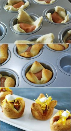 Mini Chili Dog Crescent Cups #pillsbury
