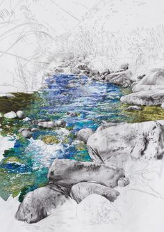 Ana Teresa Barboza (previously) produces embroidered landscapes with wandering streams that break the fourth wall, jumping off their 2D structures and cascading to the floorinwaterfalls of blues and greens. The remaining landscape Barboza keeps in black and white, focusing the viewer's eye on the