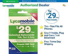 lycamobile sim card 29 plan 1 Month Inside