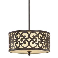 $219  Minka Lavery Iron Oxide Transitional Three Light Pendant Ceiling Fixture from TH | eBay