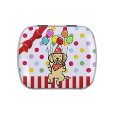 Yellow Lab Puppy Birthday Balloons Candy Tins.  Cute Yellow Labrador Cartoon.  #YellowLabrador #Labrador #LabradorRetriever #cartoon #birthday