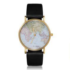 Leather, Map, Glod, Black, Women, Analog, Quartz Wrist Watch, Alloy, Banggood