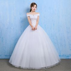 White Wedding Dresses Bridal Ball Gowns Lace Princess Off Shoulder Sweep  Dresses 46b43e527e9f