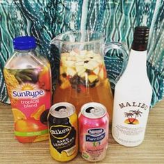 Summer Sangria Recipe 3 of your favorite fruits chopped, I bottle of white wine, 2 cups of any juice, 1 sparkling raspberry lime pop, 1 mikes hard lemonade and half a cup of Malibu rum ☀️ Let sit and chill for a few hours and enjoy  #sangria #summer #recipe #juice #malibu #fruit #wine #yummy #yyc #cupcakesandcurls #summerdrinks #sunshine #summernights
