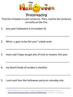 Printables Proofreading Worksheets Middle School student the ojays and halloween on pinterest activities these language arts worksheets are a great way to practice grammar and