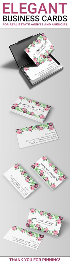 An elegant double sided business cards template with beautiful floral elements. The flowers in this design include roses, which make the design ideal for a wedding planner or event planner. This design could also suit a business in the beauty industry such as a makeup artist or hair stylist for example. Floral business cards created by J32 Design