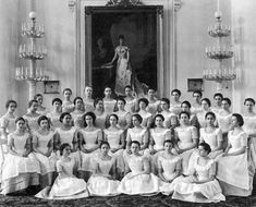 Smolny Institute of Noble Maidens, 1917. The patron, Dowager Empress Maria Feodorovna is seen in the portrait behind.