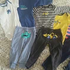 11pc Carter's baby boy bundle size 18m 11pc Baby boy bundle size 18m all in great shape. They are all little wrinkled but there are no holes or stains. 4 pairs of pants, 4 short sleeve onsies and 3 long sleeve onsies Carter's  Other