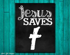 Jesus Saves. Christian Wall Art. by LittleLifeDesigns on Etsy