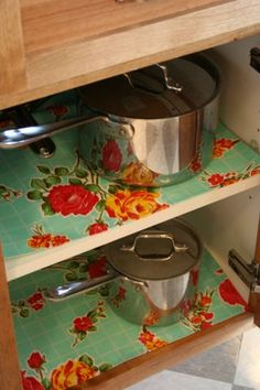 Line your shelves with oilcloth