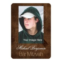 #photo - #Leather Look Photo Frame Bar Mitzvah Card
