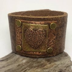 Brown Leather Cuff Bracelet for women with Copper heart