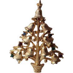 SCARCE Lia Signed Golden Bells Christmas Tree Pin