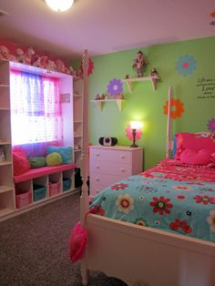 100 Girls Bedroom Decorating Ideas - Creative Girl Room Decor Tips Source by Cute Girls Bedrooms, Teenage Girl Bedrooms, Awesome Bedrooms, Trendy Bedroom, Bedroom Girls, Bedroom Wall, Bedroom Storage, Bedroom Green, Toddler Girl Bedrooms