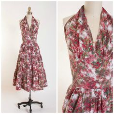 1950s Vintage Halter Dress Watercolor Floral Cotton Plisse Vintage 50s Day Dress with Tiered Skirt Size Small by stutterinmama on Etsy