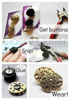 DIY Earrings From Buttons #DIY #Accessories #Jewelry