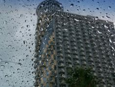 View of Orbi Towers Hotel from rainy windscreen.