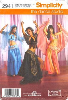 SIMPLICITY 2941 - FROM 2008 - UNCUT - MISSES BELLY DANCE COSTUMES