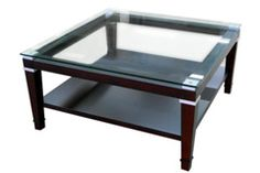 Bowring 1040770 Evan Glass Top Coffee Table Espresso / Silver accent 36x36x18""