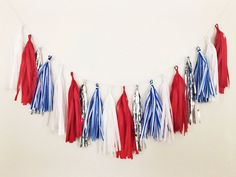 Items similar to Red White and Blue Tassel Garland - of July Tassel Garland, Labor Day Decor, Patriotic Decor, American Flag, Red White Blue Decor on Etsy Fourth Of July Decor, 4th Of July Fireworks, 4th Of July Party, 4th Of July Wreath, July 4th, Blue Party Decorations, 4th Of July Decorations, House Decorations, Tissue Paper Tassel