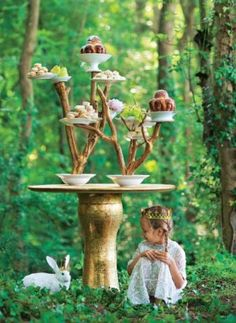 Fairy Party ~ I'd love to create a beautiful garden party with the food served like this ~ all around the garden!