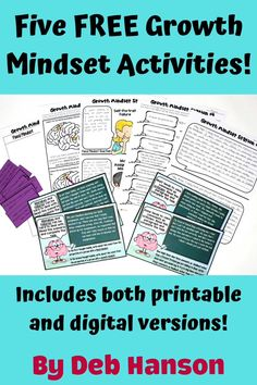 Teach your students to have a growth mindset with these free activities. Each activity is available in printable format or as a Google Slides activity. Topics include growing your brain through practice, positive self-talk, dealing with mistakes and failures, and more.
