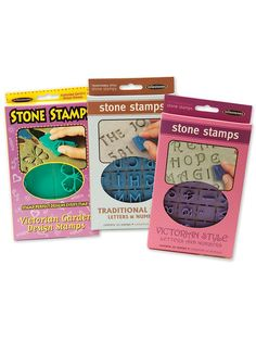 #glass #art #stamps - Add letters, numbers, or designs to your mosaics with these Stone Stamps by Milestones.